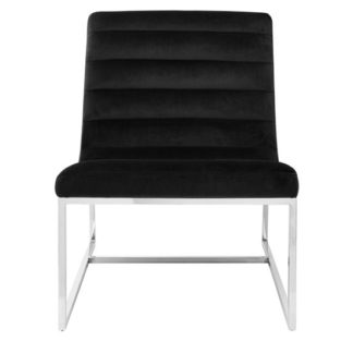 An Image of Sceptrum Black Velvet Curved Cocktail Lounge Chair