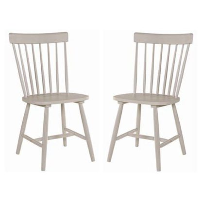 An Image of Rotanev Stone Grey Dining Chairs In Pair