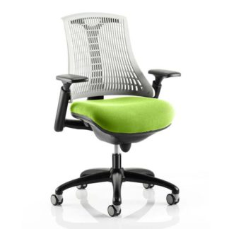 An Image of Flex Task White Back Office Chair With Myrrh Green Seat