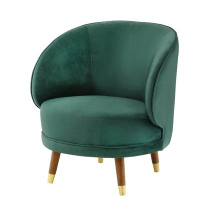 An Image of Savannah Soft Velvet Bedroom Chair In Forest Green