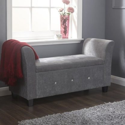 An Image of Charter Modern Fabric Ottoman Seat In Grey With Diamante