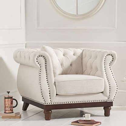 An Image of Morava Linen Armchair In Ivory