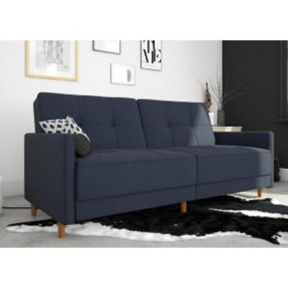 An Image of Andora Leather Sprung Sofa Bed In Blue Linen With Wooden Legs
