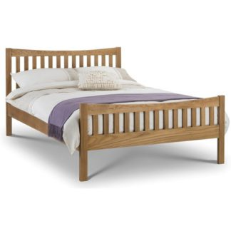 An Image of Bergamo Wooden King Size Bed In Solid Oak