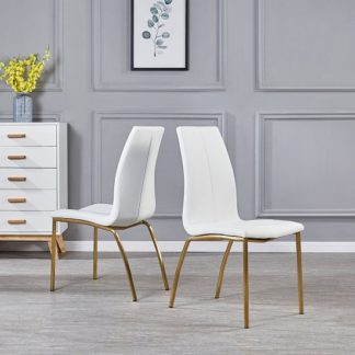 An Image of Opal Dining Chair In White PU With Brushed Gold Base In A Pair
