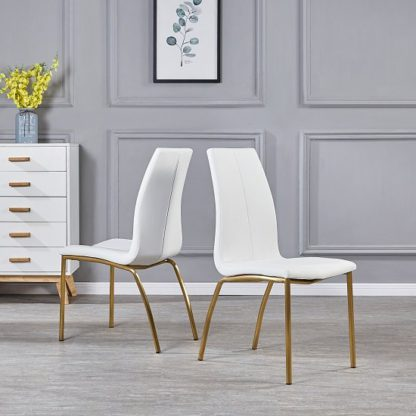 An Image of Opal Dining Chair In White Faux Leather With Brushed Gold Base