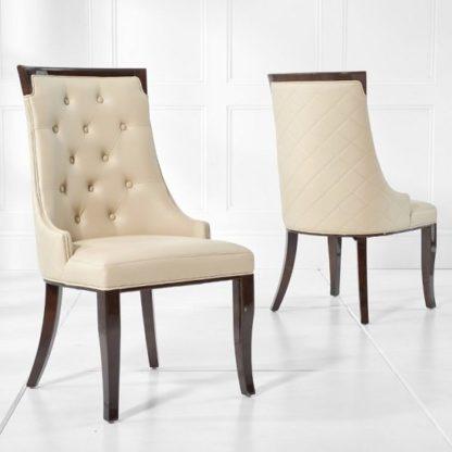 An Image of Tulip Dining Chair In Cream PU Dark High Gloss Legs In A Pair