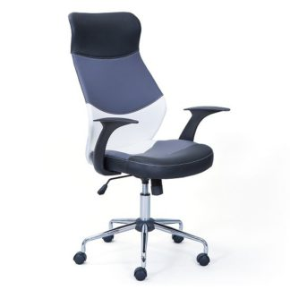An Image of Carlow Office Chair In Faux Leather With Chrome Base And Castors