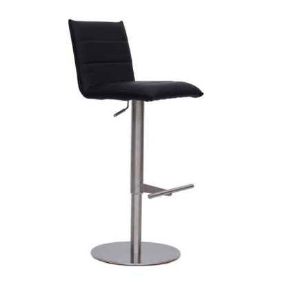 An Image of Verlo Bar Stool In Black PU With Brushed Stainless Steel Base