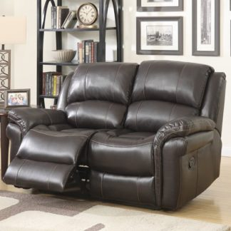 An Image of Claton Recliner 2 Seater Sofa In Brown Faux Leather