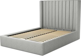 An Image of Custom MADE Cory Double size Bed with Ottoman, Wolf Grey Wool