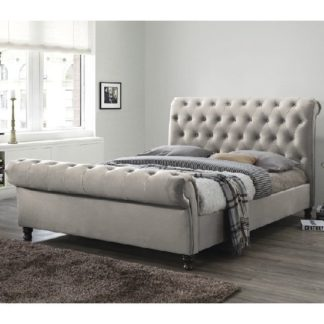 An Image of Balmoral Fabric King Size Bed In Champagne With Dark Feet