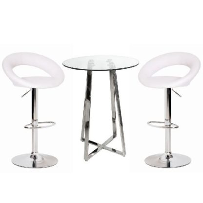 An Image of Poseur Glass Top Bar Table with 2 Leoni White Bar Stools