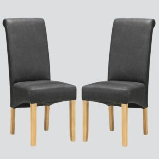 An Image of Areli Dining Chairs In Grey And Washed Oak In A Pair