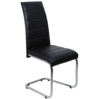 An Image of Daryl Dining Chair In Black PU Leather With Stainless Steel Legs