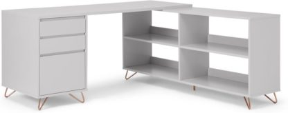An Image of Elona Corner Desk with Open Sideboard, Grey & Copper
