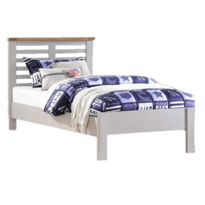 An Image of Tertia Stone Painted Wooden Single Bed