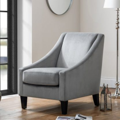 An Image of Maison Velvet Lounge Chaise Chair In Grey