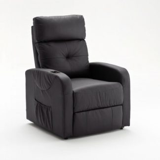 An Image of Milano Relaxing Chair In Black Faux Leather With Rise Function