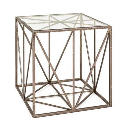 An Image of Nicole Glass End Table In Clear With Antique Bronze Frame