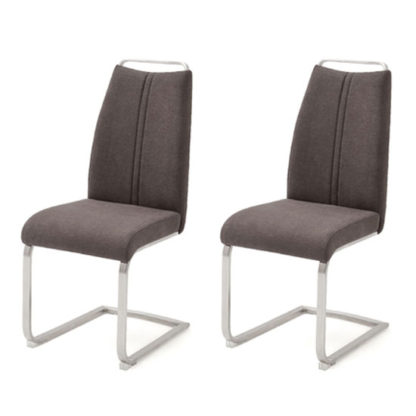 An Image of Giulia Brown Fabric Cantilever Dining Chair In A Pair