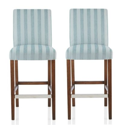 An Image of Alden Bar Stools In Duck Egg Fabric And Walnut Legs In A Pair