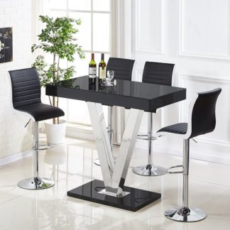 An Image of Vienna Glass Bar Table In Black Gloss And 4 Ritz Bar Stools