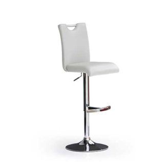 An Image of Bardo White Bar Stool In Faux Leather With Round Chrome Base