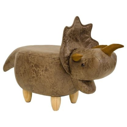 An Image of Dinosaur Triceratop Shaped Pouffe In Brown Finish