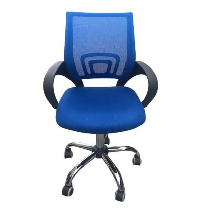 An Image of Regan Home Office Chair In Blue With Mesh Back And Chrome Base