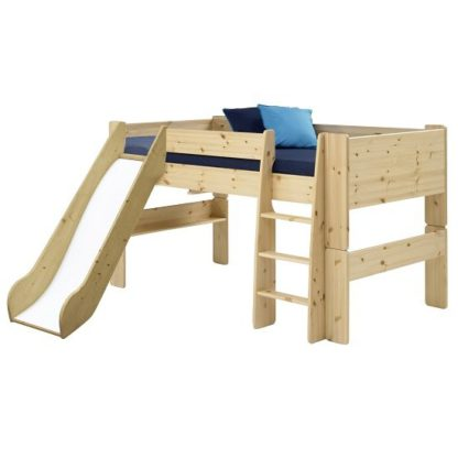 An Image of Pathos Wooden Mid Sleeper Bed In Pine With Ladder And Slide