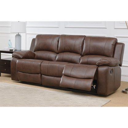 An Image of Andalusia Recliner LeatherGel And PU 3 Seater Sofa In Whiskey