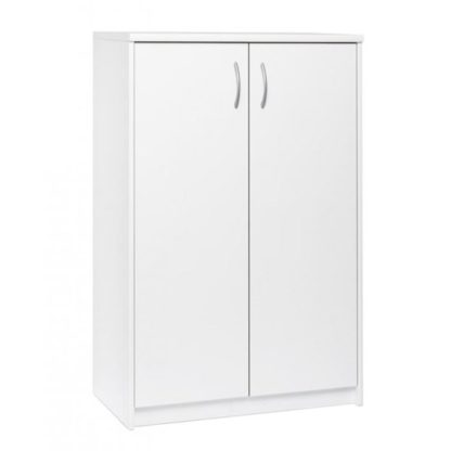 An Image of Aquarius Narrow Shoe Storage Cabinet In White With 2 Doors