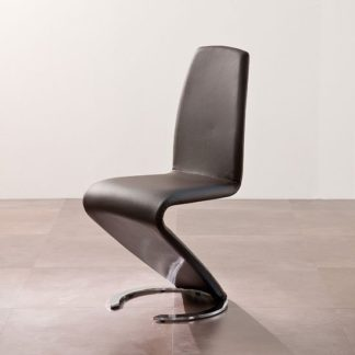 An Image of Swing II Metal Swinging Brown Real Leather Dining Chair