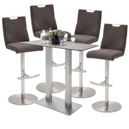 An Image of Soho Glass Bar Table With 4 Jiulia Brown Fabric Stools