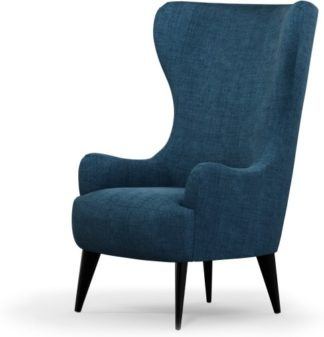 An Image of Custom MADE Bodil Accent Armchair, Thames Blue with Black Wood Leg