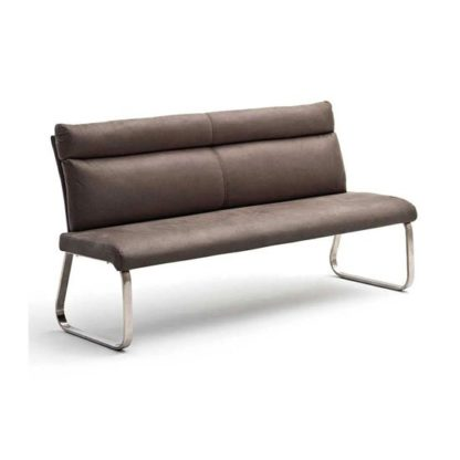 An Image of Rabea Fabric Small Dining Bench In Brown With Steel Frame
