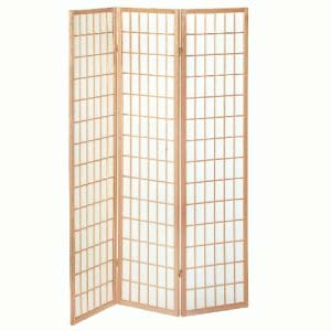 An Image of Wooden Folding Room Divider In Natural Finish