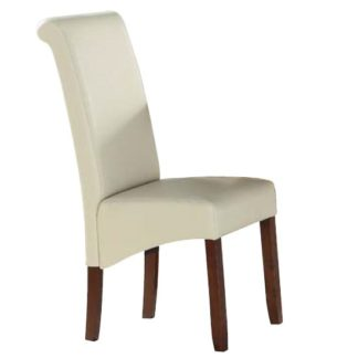 An Image of Sika Cream Leather Dining Chair With Acacia Legs