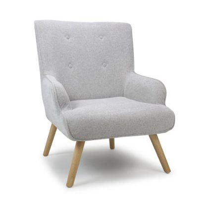 An Image of Cinema Flax Effect Armchair In Silver Grey