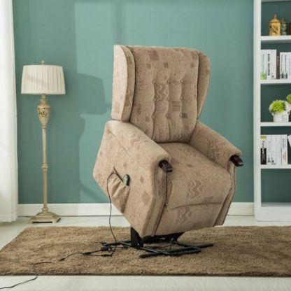 An Image of Raddison Modern Rise And Recliner Chair In Wheat Fabric