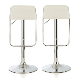 An Image of Mestler Modern Bar Stool In White Faux Leather In A Pair