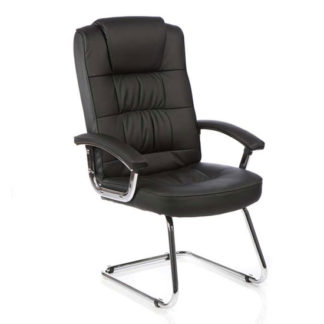 An Image of Moore Leather Deluxe Visitor Chair In Black With Arms