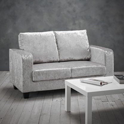 An Image of Canes Crushed Velvet 2 Seater Sofa In Silver