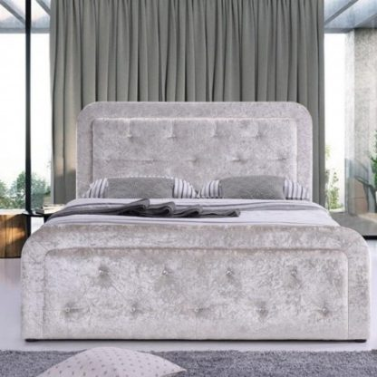 An Image of Ravello Fabric Storage Double Bed In Cream Crushed Velvet