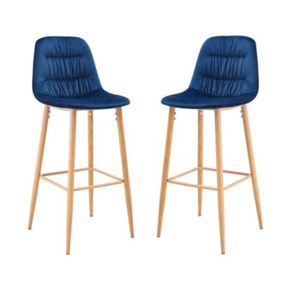 An Image of Harper Blue Finish Bar Stool In Pair
