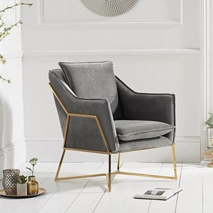 An Image of Baron Modern Accent Chair In Grey Velvet With Gold Frame