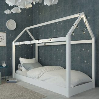 An Image of Hickory Wooden Single House Bed In White