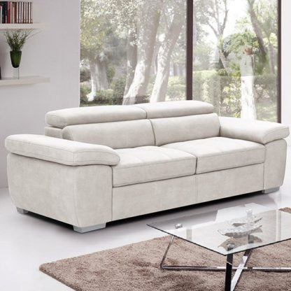 An Image of Amando Fabric 3 Seater Sofa In Beige