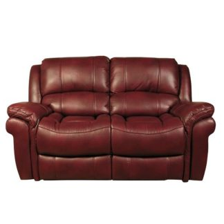 An Image of Claton Recliner 2 Seater Sofa In Burgundy Faux Leather